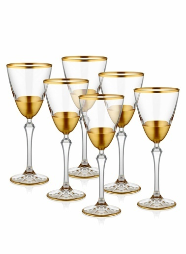 The Mia Glam Şarap Kadehi 6 Parça - Gold Altın